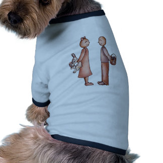 Funny Cartoon of Girl Giving Boy Easter Bunny Doggie T-shirt