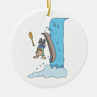 funny cartoon over the waterfall in canoe christmas ornament