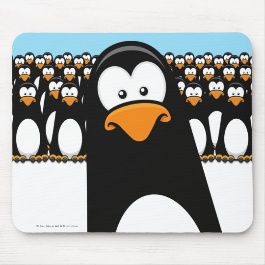 Funny Cartoon Penguin Army Mouse Mat