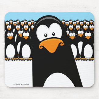 Funny Cartoon Penguin Army Mouse Pad