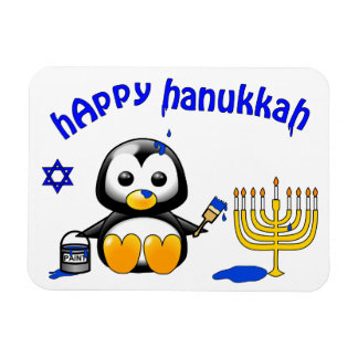 Funny Cartoon Penguin Happy Hanukkah Magnet