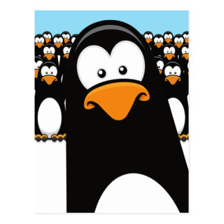 Funny Cartoon Penguins Postcard