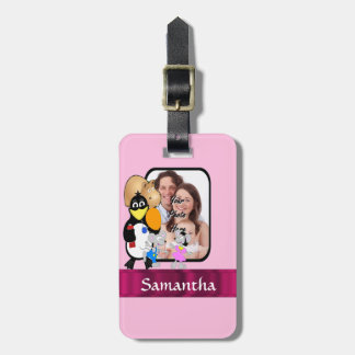 Funny cartoon photo background luggage tag