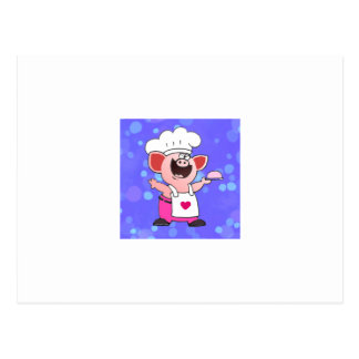 Funny Cartoon Pig Chef Postcard