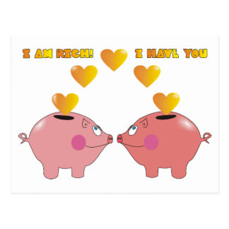 Funny Cartoon Pigs in Love Valentine Postcard