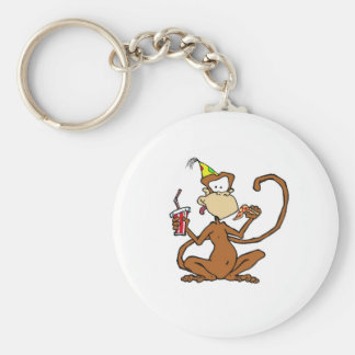Funny Cartoon Pizza Monkey Basic Round Button Key Ring