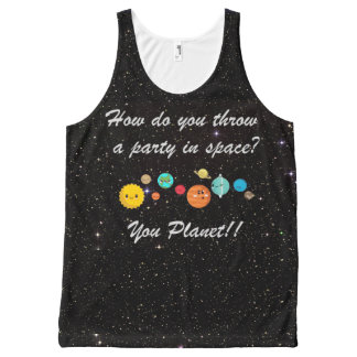 Funny Cartoon Planets in Space All-Over Print Tank Top