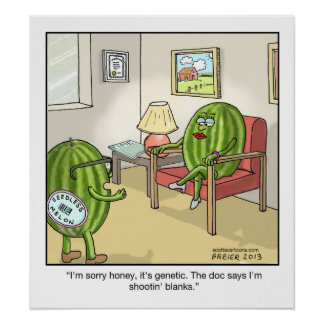 Funny Cartoon Poster-Seedless Watermelon Poster