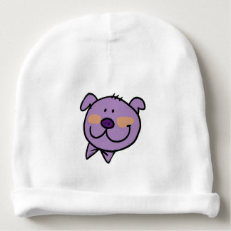 Funny cartoon purple pig face baby beanie
