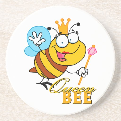 funny cartoon queen bee with text beverage coasters