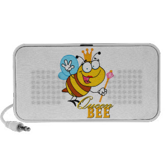 funny cartoon queen bee with text travelling speakers