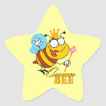 funny cartoon queen bee with text star stickers