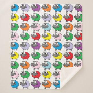 Funny Cartoon Rainbow Sheep Sherpa Blanket