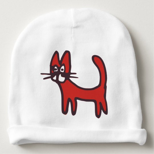 Funny Cartoon Red Cat Hat Baby Beanie