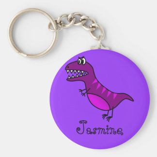 Funny Cartoon Rex  Cute Dinosaur Personalized Gift Basic Round Button Key Ring