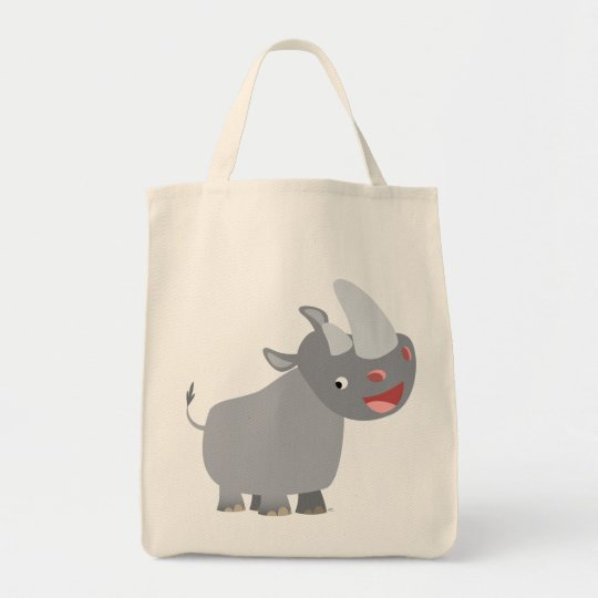 Funny Cartoon Rhino Grocery Tote Bag