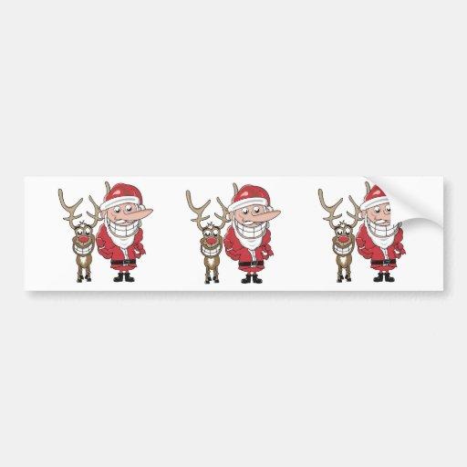 Funny Cartoon Santa and Rudolph Bumper Sticker