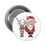 Funny Cartoon Santa and Rudolph Buttons
