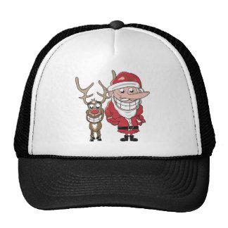 Funny Cartoon Santa and Rudolph Cap