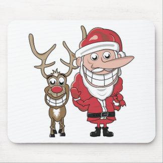 Funny Cartoon Santa and Rudolph Mouse Mat
