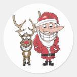 Funny Cartoon Santa and Rudolph Round Stickers