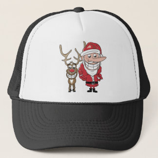 Funny Cartoon Santa and Rudolph Trucker Hat