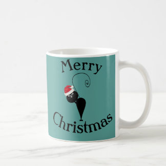 Funny cartoon Santa cat christmas Basic White Mug