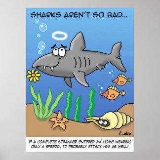 Funny cartoon shark poster