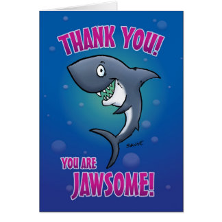 Funny Cartoon Shark Thank You Card