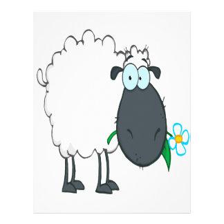 funny cartoon sheep with flower custom flyer