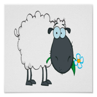 funny cartoon sheep with flower poster