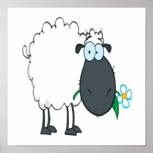 funny cartoon sheep with flower print