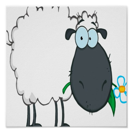 funny cartoon sheep with flower posters