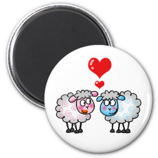 Funny cartoon sheeps, Wedding couple 6 Cm Round Magnet