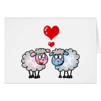 Funny cartoon sheeps, Wedding couple Card