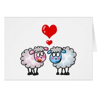Funny cartoon sheeps, Wedding couple Greeting Card