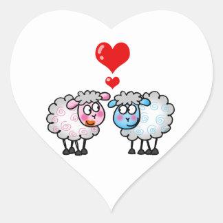 Funny cartoon sheeps Wedding couple Heart Sticker