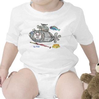 Funny Cartoon Submarine Fishes Baby Tee Shirts