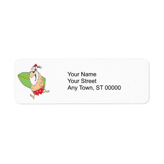 funny cartoon surfer surfing santa claus return address label