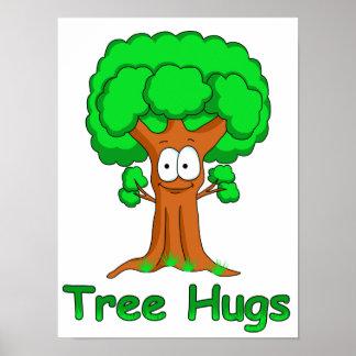 Funny Cartoon Tree Hugs Poster