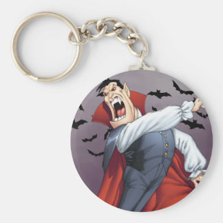 Funny Cartoon Vampire with Bats by Al Rio Basic Round Button Key Ring
