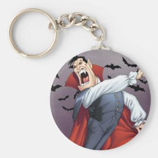 Funny Cartoon Vampire with Bats by Al Rio Key Ring
