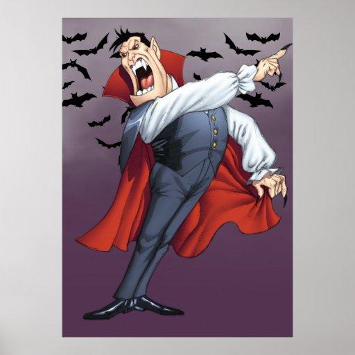 Funny Cartoon Vampire with Bats by Al Rio Poster