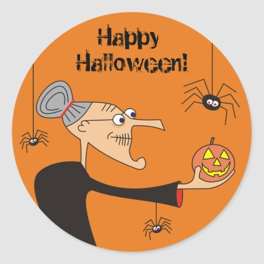 Funny Cartoon Witch Halloween Stickers,Orange Classic Round