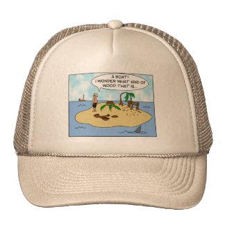 Funny Cartoon Woodturner on Deserted Island Cap