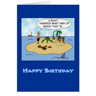 Funny Cartoon Woodturner on Deserted Island Card