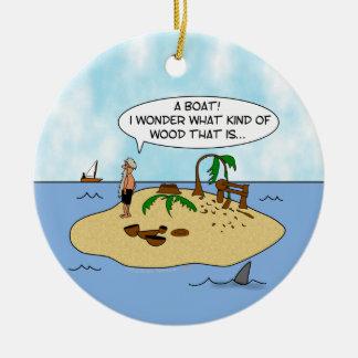 Funny Cartoon Woodturner on Deserted Island Christmas Tree Ornament