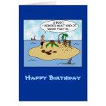 Funny Cartoon Woodturner on Deserted Island Greeting Card