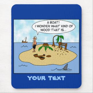 Funny Cartoon Woodturner on Deserted Island Mouse Mat