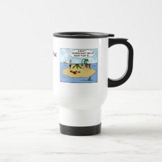 Funny Cartoon Woodturner on Deserted Island Stainless Steel Travel Mug